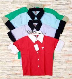 Camisa Social Infantil 3/4 Lisa 1 a 8 anos