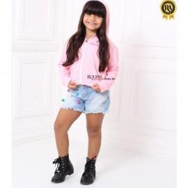 Blusa Moletom Infantil Feminina com Capuz