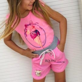 Short Infantil Moletinho Menina,