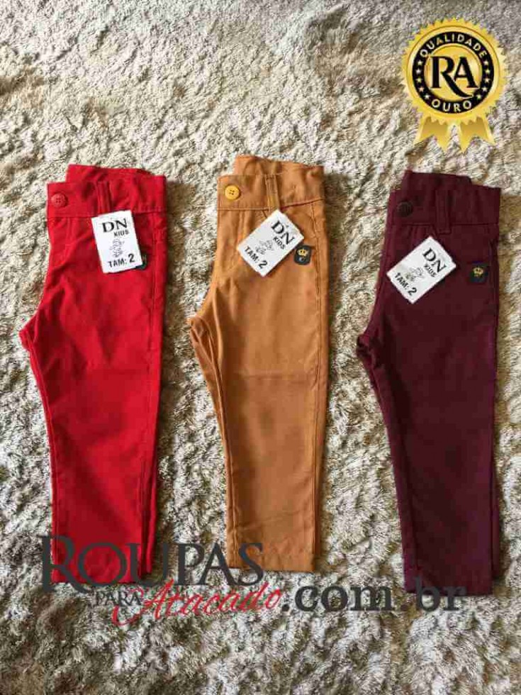 14f7bc2b3 Calça jeans Infantil de sarja Colorida