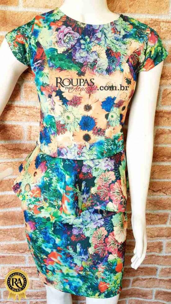 e20d11a5d Vestido Feminino Peplum Estampado Neoprene - Roupas Para Atacado