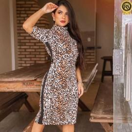 Vestido Midi Canelado Animal Print
