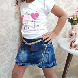 Short Saia Jeans Infantil Feminina