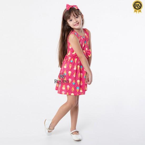 Vestido Infantil Estampado Com Tiara