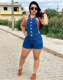 Jardineira Jeans Feminina Short