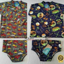 kit Sunga e Camisa UV Infantil Estampada
