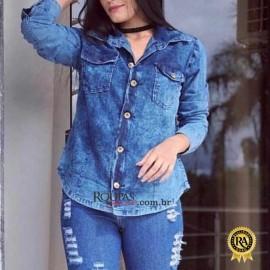 Camisa Jeans Feminina Longa