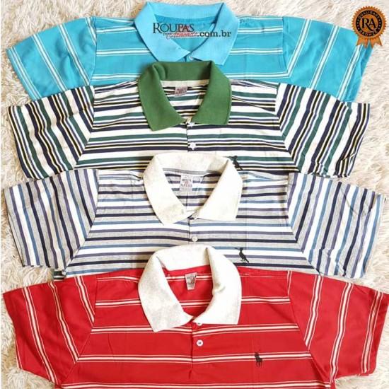 Camisa Polo Masculina Listrada
