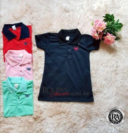 Vestido Gola Polo Infantil Feminino Piquet