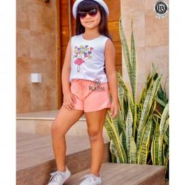 Conjunto Infantil Menina Blusa E Short Moletinho