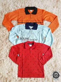 Camisa Polo Infantil Manga Longa atacado