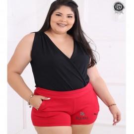 Short Feminino Plus Size Com Bolso