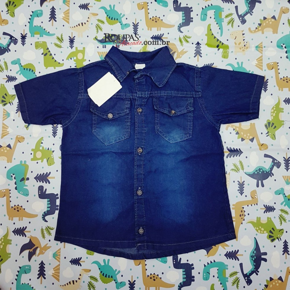 Camisa Social Jeans Infantil - Roupas Para Atacado 28e15aa2983