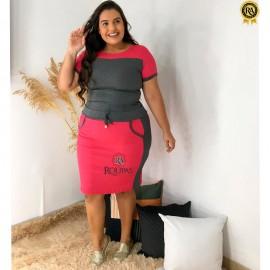 Conjunto Canelado Blusa E Saia Plus Size