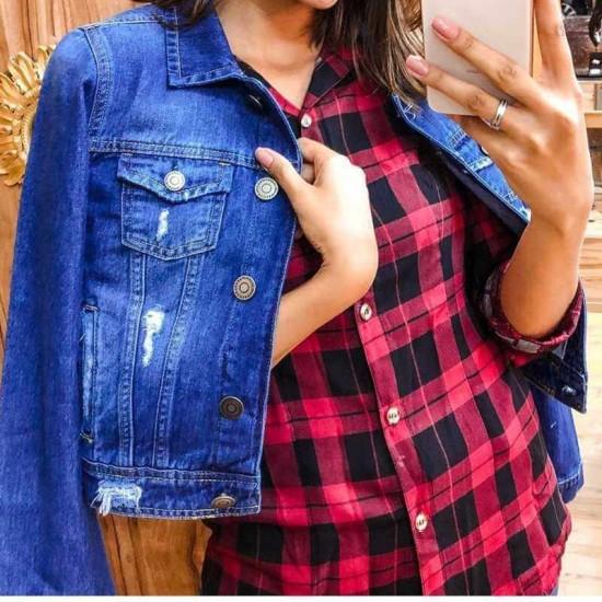 Jaqueta jeans destroyed Feminina