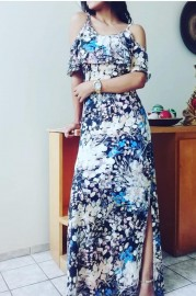 Vestido Longo Estampado Malha