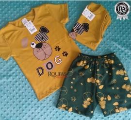 Conjunto Infantil Bermuda Moletim E Camiseta Algodão