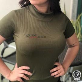 Blusa Malha Canelada Feminina