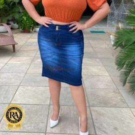 Saia Plus Size Jeans com Lycra Evangélica