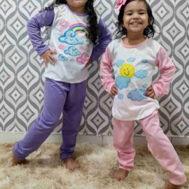 Pijama Infantil Manga Longa Com Aplicação