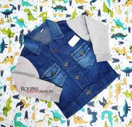 Jaqueta Jeans Mangas em Moletom Infantil Feminina