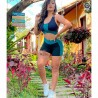 Conjunto Top E Short Fitness Liso Com Detalhes