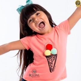 Blusa Infantil Algodão Com Pom Pom