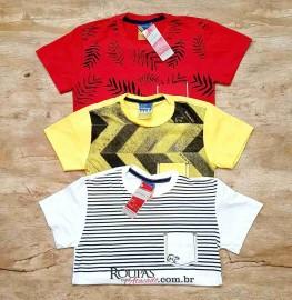Camisa Algodão Infanto-Juvenil com bolso