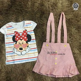 Conjunto Infantil Blusa e Vestido Salopete