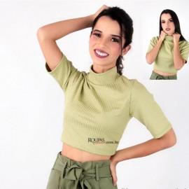 Blusa Cropped Malha Canelada