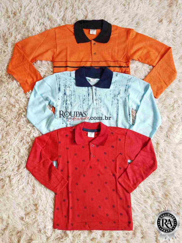 5a55e5bd7a Camisa Polo Infantil Manga Longa atacado