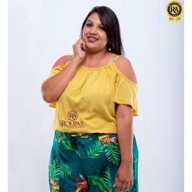 Blusa Em Viscose Lisa Plus Size