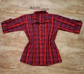 Camisa Social 3/4 Xadrez Feminina