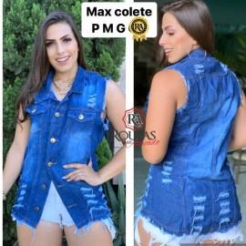 Maxi Colete Jeans Feminino