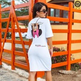 Vestido Blogueira Com Estampa Nas Costas
