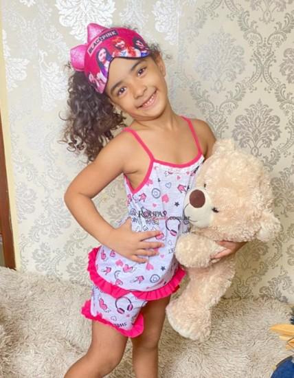 Baby Doll Infantil Estampado Com Babado